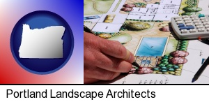 a landscape architect's backyard design drawing in Portland, OR