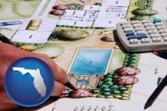 florida map icon and a landscape architect's backyard design drawing