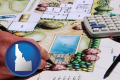 idaho map icon and a landscape architect's backyard design drawing