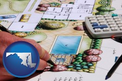 maryland map icon and a landscape architect's backyard design drawing