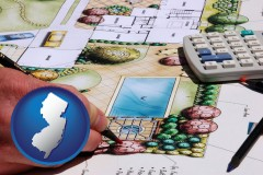 new-jersey map icon and a landscape architect's backyard design drawing