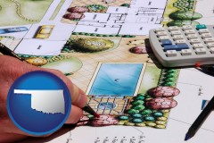 oklahoma map icon and a landscape architect's backyard design drawing