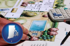 rhode-island map icon and a landscape architect's backyard design drawing