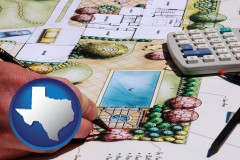 texas map icon and a landscape architect's backyard design drawing
