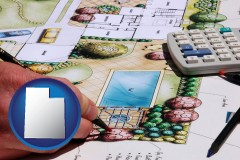 utah map icon and a landscape architect's backyard design drawing