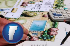vermont map icon and a landscape architect's backyard design drawing