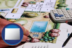 wyoming map icon and a landscape architect's backyard design drawing